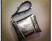 Gone Black and Silver Glitter Vinyl Rockabilly Wristlet with Spike Handle