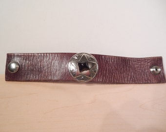 Law-Abiding Citizen - Genuine Brown Distressed Leather Upcycled Cuff