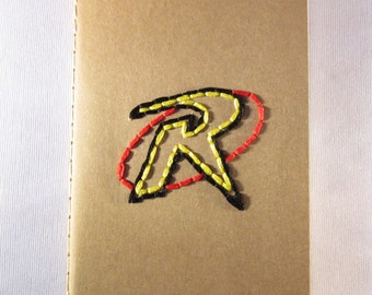 Robin Logo (DC Comics) Hand Embroidered Moleskine Notebook