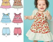 SALE / BABY PATTERN / Make Infant - Toddler Girl pullover dress - top - panties / 10 to 21 pounds/ Easy To Do