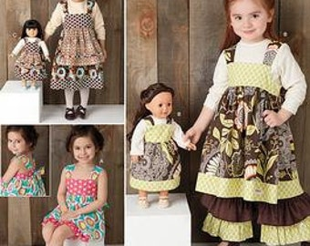 GIRLS CLOTHES PATTERN / Make Boutique Style Dress - Pants for Girl and American Girl 18 Inch Doll / Child Sizes 3 To 8