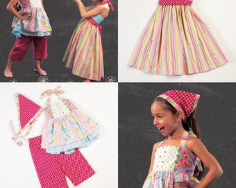 SUMMER CLOTHES PATTERN / Retired / Make Girls Boutique Style Top - Dress - Pants - Kerchief / Child Sizes 2 - 5 Or 6 - 8
