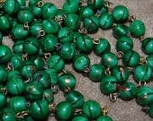 Vintage Lot of 3 Feet Jade and Gold Glitter Glass 8mm Beaded Brass Chain Made in Japan  AR3