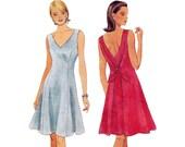 Misses V Neck Dress Pattern - Womens Dress Sewing Pattern - McCalls 8235 - Uncut, Factory Folds
