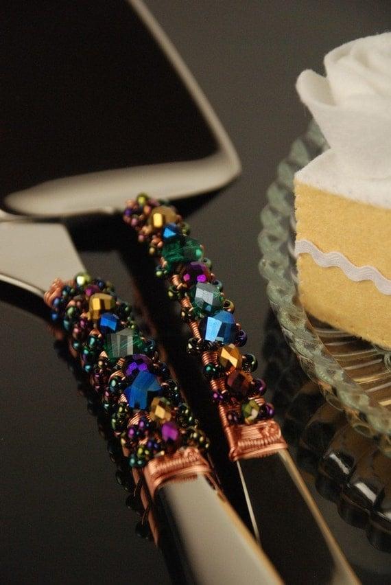 peacock wedding cake cutting set cake knife server jewel. Black Bedroom Furniture Sets. Home Design Ideas
