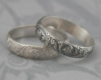 vintage style band silver wedding band bridal bouquet band floral - Vintage Style Wedding Rings