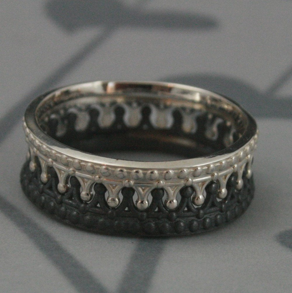 Black And Sterling Silver Crown Band SETCheck MateCrown