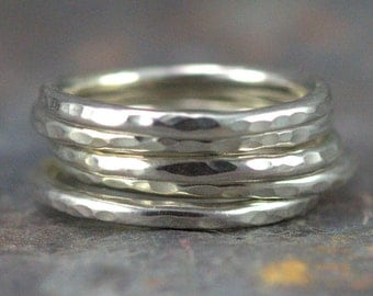 Sterling Stacking Rings - Set of 4, 5 or 6 - Silver Stackable 2 mm Hammered Bands