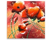 Original Painting - Floral Abstract Acrylic Painting - Red Poppies Flower Art  - Modern Art Valentine Decor 12x12