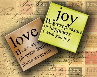 INSTANT DOWNLOAD Dictionary Inchies - Love, Hope, Joy and Faith - 1 inch squares - DigitalPerfection digital collage sheet 463