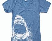 Unisex SHARK Tri Blend V Neck T Shirt american apparel XS  S  M  L (3 Color Options)