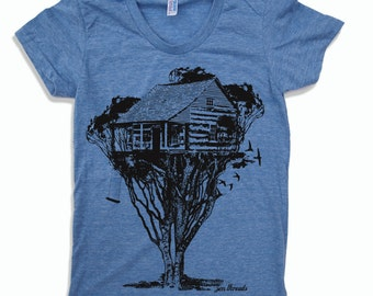 Womens TREEHOUSE Cabin t shirt american apparel S M L XL (17 Colors Available)