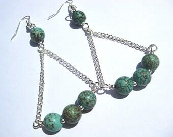 Turquoise chandelier earrings, long, silver chain, bohemian jewelry