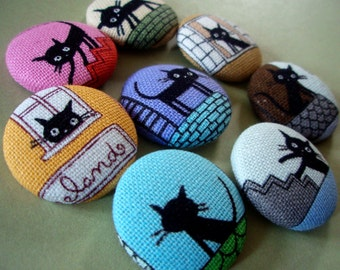 Black Cat Buttons - French Alley Cat Large Fabric Buttons - Covered Buttons - Colorful Kitties Fabric-Covered Buttons