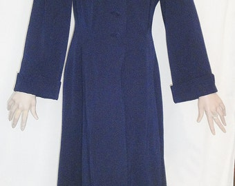 Gorgeous 50's Navy Blue Wool Gabardine Fit and Flare Coat Bust 40