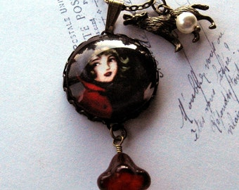 Red Riding Hood And The Big Bad Wolf Art Pendant Necklace Antiqued Brass Storybook Gothic Fairytale
