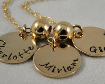 Three Disc 14K Gold Filled Charm Necklace Personalized