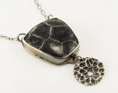 Black Fossil Coral and Casting Necklace