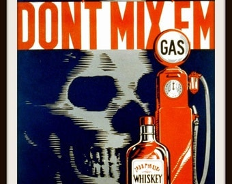 "WPA Public Safety POSTER: ""Don't Mix Em"" by Robert Lachenmann 1937 Giclee Art Print - Drunk Driving - Don't Drink and Drive"