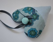 Aqua and Blue Liberty Floral Patchwork Hanging Lavender Stuffed Fabric Heart
