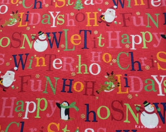 SALE Kawaii Japanese Fabric - Christmas Message Red - Half Yard