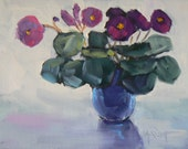 "Still Life Floral,Impressionist art,  Small Oil Painting, ""African Violet"" 6x8"" Original Oil, Daily Painting"
