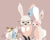 LARGE Pink Bunny Print Girls Nursery Room - 'Bunny Business'