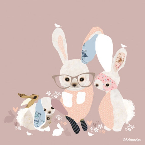 Pink Bunny Print Girls Nursery Room - 'Bunny Business'
