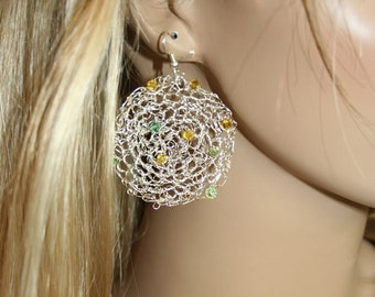 Crochet Knitted earrings Fine silver and swarovski crystals-yellow-greens