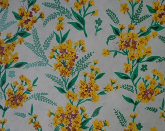 Vintage Gift Wrap 1950s Floral Print-Goldenrod- One Sheet of wrapping paper