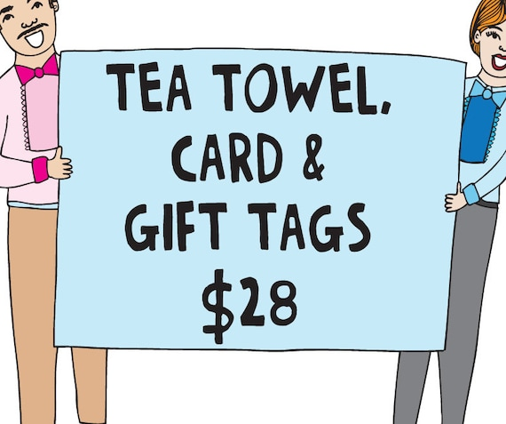 Bulk Gift Pack - One Tea Towel, One Card and One Pack of 8 Gift Tags