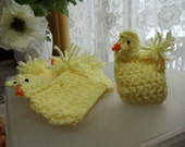Crocheted Chickens - holds an Easter Egg - set of five