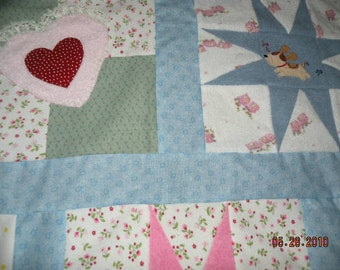 Baby Clothes Memory Quilt - Custom Hand Made Bordered Star and Applique Staggered Block Design