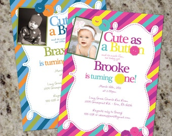 Cute As a Button - 1st Birthday Baby Shower or Toddler Party Invitations - with or w/o photo - Printable file
