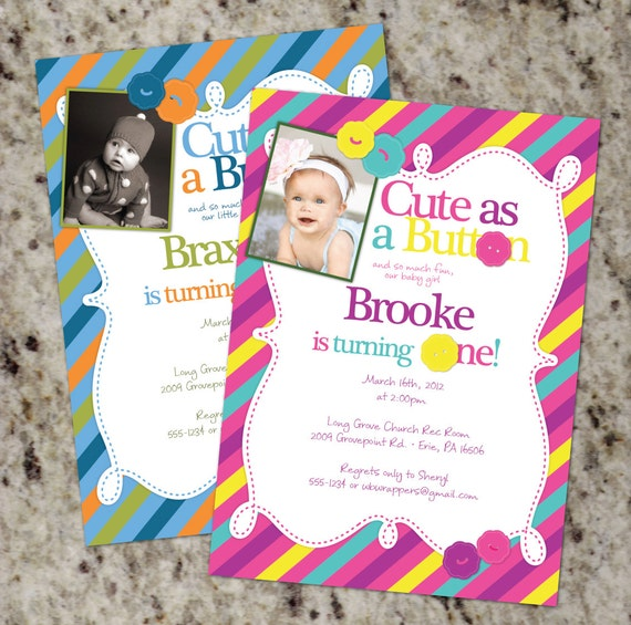 Cute As a Button 1st Birthday Party Invitations with or wo
