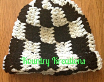 Crochet Hat/Black and White Hat/Newborn Hat/Baby Boy Hat/Toddler Hat/Baby Girl Hat/CHECKERED FLAG/Racing Hat/Nascar (Ready to Ship)
