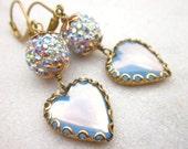 Heart earrings AB rhinestone earrings bridal earrings brass jewelry crystal earrings