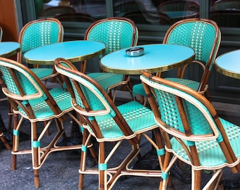 Paris Photography - Mint green cafe Chairs in Montmartre - Paris Cafe, Mint Green Wall Art, Rue des Abbesses, Kitchen Wall Art