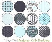 Crib Sheet  /  Toddler Bed Sheet - It's a Boy Thing  - Gray Aqua Bicycles Dots by Cottage Belles