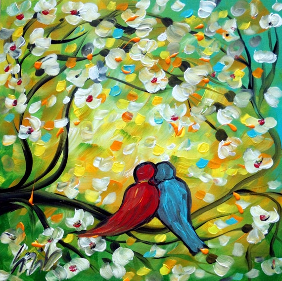 Whimsical Original Painting Love Birds Spring Cherry Flowers