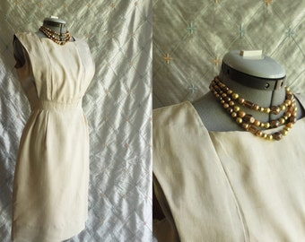 60s Dress // Vintage 1960s Cream Silk Dress Size M