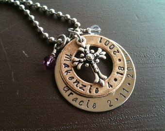 Hand Stamped Jewelry Mother's Necklace Mixed Metal Inspirational