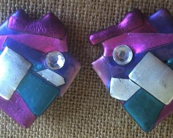 1970s Artsy Metallic Fish Earrings in Bright Colors with Rhinestones