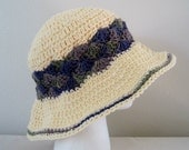 Crocheted Floppy Wide Brim Summer Hat - Natural with Purple and Green