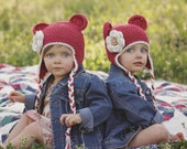 Crochet Hat, Baby Girl Hat, Girls Cotton Crochet Ear Flap Beanie Hat with Ears and Ties, Country Red and Ecru, MADE TO ORDER