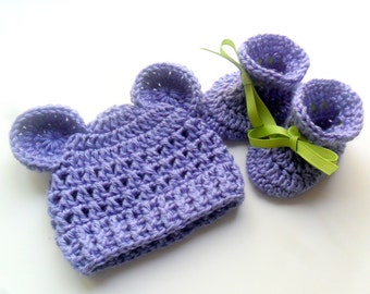 Newborn Baby Hat, Crochet Baby Hat, Baby Booties, Crochet Hat with Ears, Booties, Set, Gift Set, Custom MADE TO ORDER in your color choice