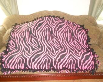 Neon Pink and Black Zebra Stripes Black Back Fleece Tie Blanket No Sew Fleece Blanket 48x60 Approximate size