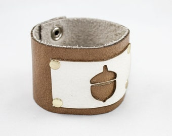 SALE Leather Cuff - Acorn Cutout - Laser Cut  (Tan & White) - Size Medium