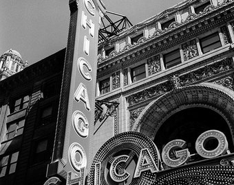 Chicago Theater Marquee: Black and White Photo