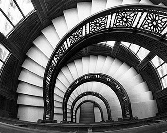 Chicago, Rookery Building Staircase: Black and White Photo